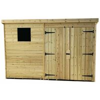 10 x 5 Pressure Treated Tongue And Groove Pent Shed With 1 Window And Double Doors + Safety Toughened Glass
