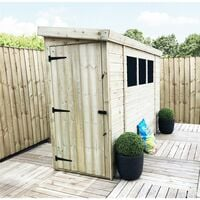 10 x 3 Reverse Pressure Treated Tongue And Groove Pent Shed With 3 Windows And Single Door + Safety Toughened Glass