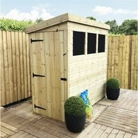 10 x 3 Pressure Treated Tongue And Groove Pent Shed With 3 Windows And Side Door + Safety Toughened Glass
