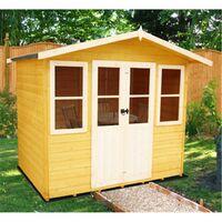 Old - 7 x 5 (2.05m x 1.62m) - Premier Wooden Summerhouse - Central Double Doors - 12mm T&G Walls & Floor