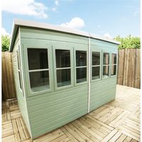 6 x 6 (1.83m x 1.83m) - Premier Pent Wooden Summerhouse - Potting Shed - 2 Opening Windows - Single Side Door - 12mm T&G Walls - Floor - Roof