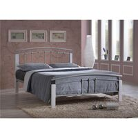 """Silver Metal & White Beech Bed Frame - Double 4ft 6"""""""