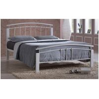 White Metal & White Beech Bed Frame - Small Double 4ft