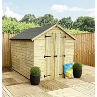 8 x 6 **Flash Reduction** Super Saver Windowless Pressure Treated Tongue And Groove Double Doors Apex Shed (Low Eaves)