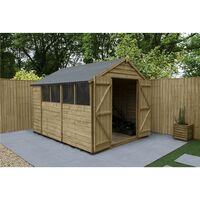 10ft x 8ft Pressure Treated Overlap Apex Wooden Garden Shed - Double Doors - 4 Windows (3.1m x 2.5m) (CORE) - Modular
