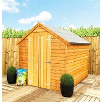 ** FLASH REDUCTION** 8 x 6 (2.39m x 1.83m) - Super Value Overlap - Apex Wooden Shed - Windowless - Double Doors - 8mm Solid OSB Floor - CORE