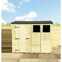 """7 x 4 **Flash Reduction** REVERSE Super Saver Pressure Treated Tongue And Groove Single Door Apex Shed (High Eaves 74"""") + 1 Window"""