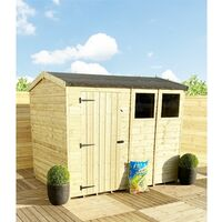 """5 x 5 **Flash Reduction** REVERSE Super Saver Pressure Treated Tongue And Groove Single Door Apex Shed (High Eaves 74"""") + 1 Window"""