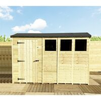 """14 x 5 **Flash Reduction** REVERSE Super Saver Pressure Treated Tongue And Groove Single Door Apex Shed (High Eaves 74"""") + 3 Windows"""
