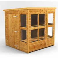 6 x 6 Premium Tongue and Groove Pent Potting Shed - Single Door - 10 Windows - 12mm Tongue and Groove Floor and Roof