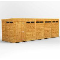 20 X 6 Security Tongue And Groove Pent Shed - Single Door - 10 Windows - 12mm Tongue And Groove Floor And Roof