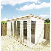 10 x 6 COMBI Pressure Treated Tongue & Groove Pent Summerhouse with Higher Eaves and Ridge Height + Side Shed + Toughened Safety Glass + Euro Lock with Key