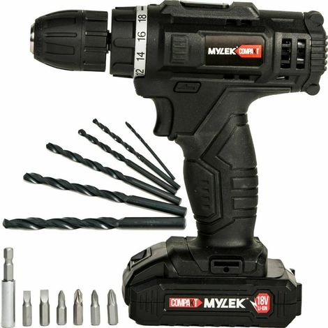 Mylek Compakt 18v Cordless Drill Screwdriver Set Lithium Ion With 13 Piece Accessories