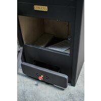 """Poêle à bois avec four. Puissance de chauffage de 8 kW. Modèle """"Kupro Lux Oven Steel"""""""