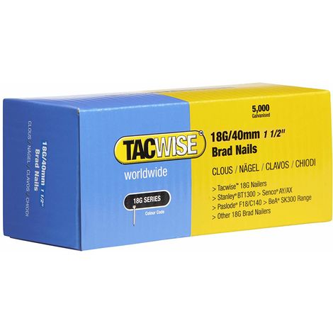 5000 Tacwise 18 Guage 40mm Brad Nails Galvanised for Nail Guns 18G - 0400