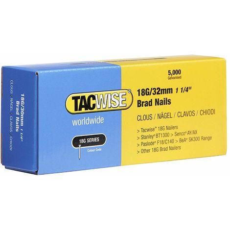 5000 Tacwise 18 Guage 32mm Brad Nails Galvanised for Nail Guns 18G - 0398