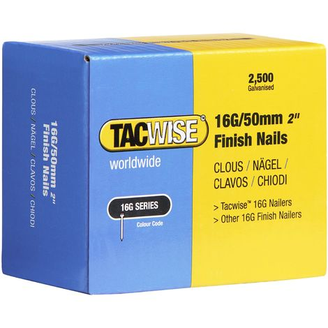 2500 Tacwise 50mm 16 Gauge Straight Finish Nails Brads 50mm galvanised