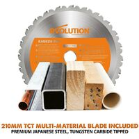 EVOLUTION R210SMS+ 210mm Mitre saw 110v with free stands Multi material Blade