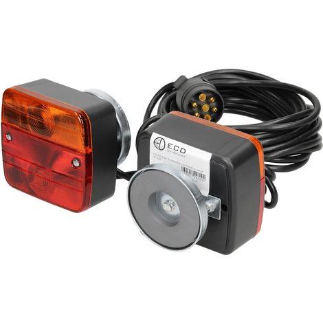 Kit feux arrière remorque caravane marque E4 12V câble 7,5m connecteur 7 broches