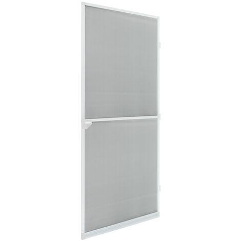 Moustiquaire porte en aluminium blanc avec tissu de fibre de verre 100 x 220 cm