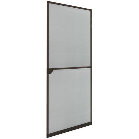 Moustiquaire porte en aluminium marron avec tissu de fibre de verre 100 x 220 cm