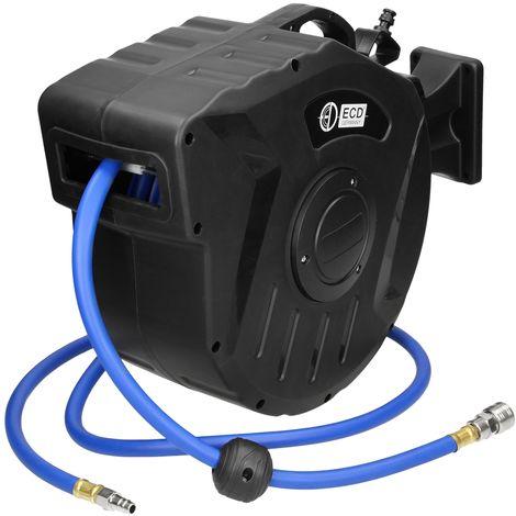 """Dévidoir enrouleur automatique 15 m tuyau à air comprimé 1/4"""" 8 raccord rapide"""