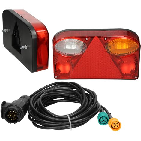 Feux arrière éclairage remorque marque E11 avec câble 13 pôles 7 fonctions 12V