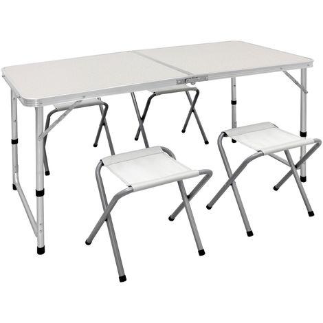 Aliza Heavy Duty aluminium pliable Set de camping//Picnic//Voyage Table et 4 sièges