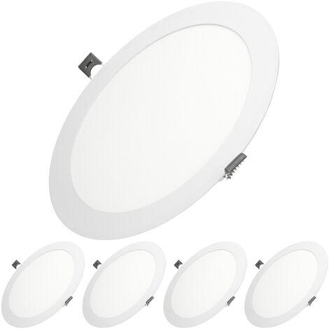 ECD Germany 5-pack LED Downlight 18W - spots de plafond de panneau ULTRASLIM - 220-240 - SMD 2835 - Ø22 cm - blanc chaud 3000K - taches rondes éclairage encastré pour couloir, salle de bains ou la cuisine