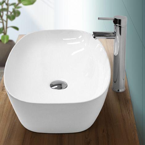 Vasque à poser salle de bain lavabo bol ovale blanc en céramique 605x380x180 mm