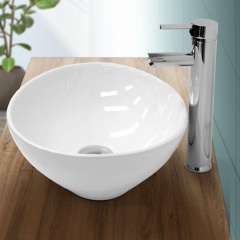 Lavabo ovale en céramique vasque à poser lave-mains salle de bain 410x330x142mm