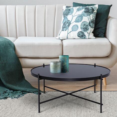 Table basse verre / métal table d'appoint salon rond noir Ø 75 cm WOMO-DESIGN®