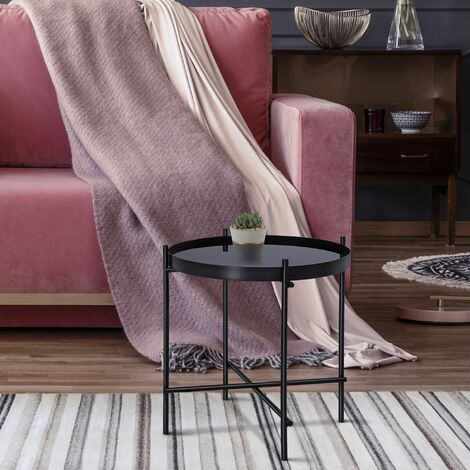 Table basse verre / métal table d'appoint salon ronde noir Ø 43 cm WOMO-DESIGN®