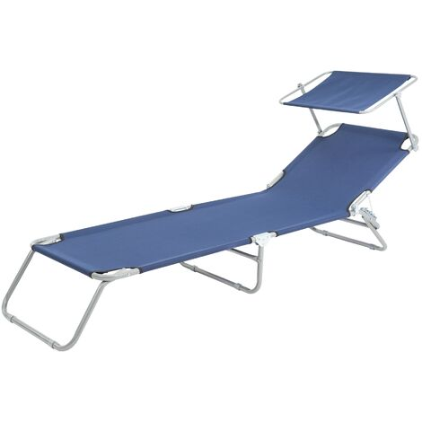 Chaise longue de plage jardin bain de soleil pliante en acier tissu bleu 120 kg
