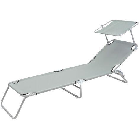 Chaise longue de plage jardin bain de soleil pliante en acier tissu gris 120 kg