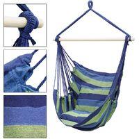 Hamac de jardin extérieur chaise suspendue balançoire bleu/vert avec 2 coussins