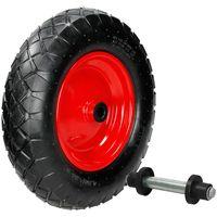 """2x 15"""" Roue de brouette pneumatique avec axe 4.80/4.00-8 pneu gonflable chariot"""