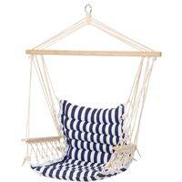 Chaise suspendue siège fauteuil suspendu hamac bleu/blanc charge max. 120 kg