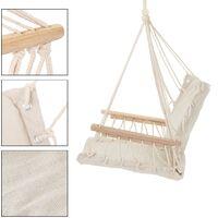 Chaise suspendue siège fauteuil hamac avec accoudoirs en bois charge max. 120 kg