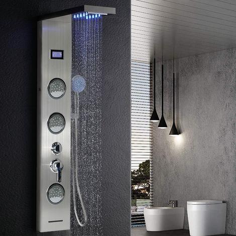 Duschpaneel Duschsäule | LED Beleuchtung | Wasserfall Regendusche Massage | Handbrausen Thermostat Edelstahl 123.5x20x15cm
