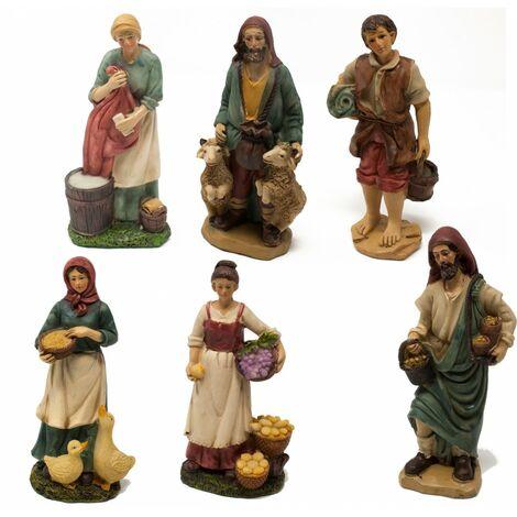 Pastori in Resina 15 cm per Presepe Set da 6 pezzi assortiti - 48209