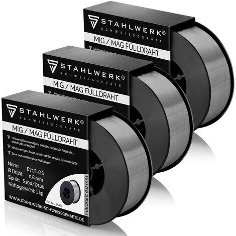 3 x Hilo FLUX STAHLWERK MIG/MAG Ø 0,8 mm, hilo de soldadura FLUX E71T-1C, bobina de 1kg D100 con mandril de 16mm, uso universal