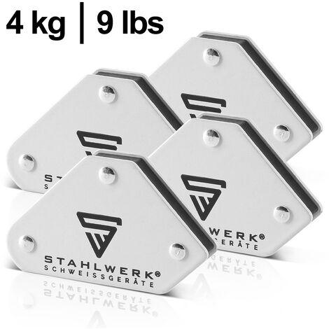 STAHLWERK 4x escuadra magnética de soldadura, ángulos de 45° x 90° x 135°, adherencia 9 lbs / 4 kg, blancas
