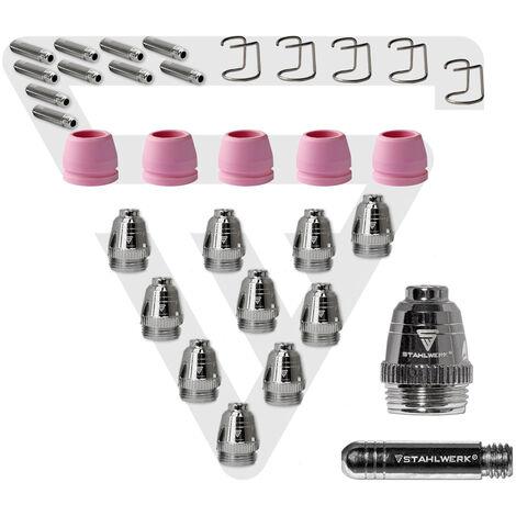 STAHLWERK accesorio para plasma piezas de desgaste para antorcha P-60, boquillas + electrodos + tapas cerámicas, encendido piloto, antorcha de corte de plasma, 30 piezas