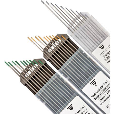 Electrodos de tungsteno conjunto gris, verde, dorado 1,6 mm 10 piezas de cada tamaño