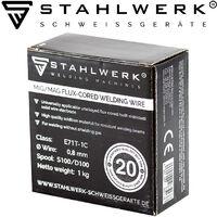 2 x hilo FLUX STAHLWERK MIG/MAG Ø 0,8 mm, hilo de soldadura FLUX E71T-1C, bobina de 1kg D100 con mandril de 16mm, uso universal