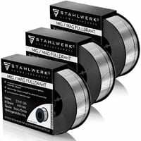 STAHLWERK MIG MAG hilo FLUX Premium Ø 0,8 mm, hilo FLUX de soldadura E71T-GS, bobina D100 de 1 kg con mandril de 16 mm, de uso universal, conjunto de 3