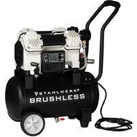 STAHLWERK brushless compresor de aire comprimido ST-1220 BL, compresor silencioso sin desgaste y potente 1500 W brushless, presión máx. 12 bar, caldera de 18 L, circulación 250 L/min