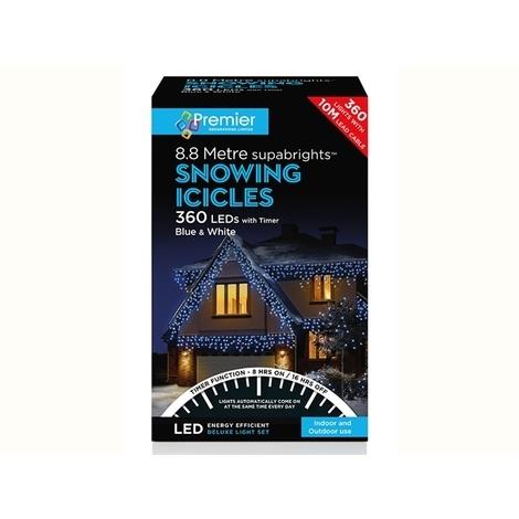 Snowing Icicle + Timer 360 LED Blue/ White LV162183BW
