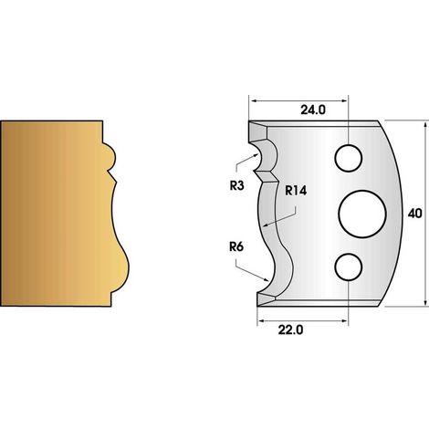 Paire de fers de toupie hauteur 40 n° 106 - plinthe   Fers (coupants)
